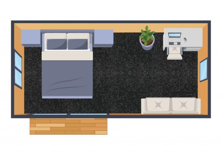 XL portable cabin floorplan